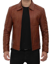 Brown Shirt Collar Casual Leather Jacket