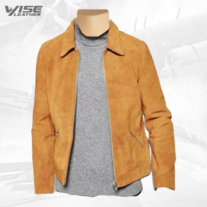 Collared Suede Leather Jacket - Wiseleather