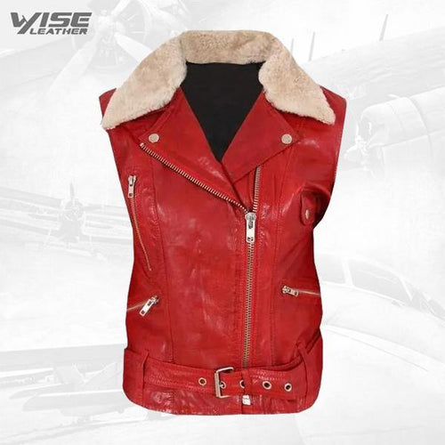 Contrast White Fur Collar Biker Leather Vest