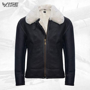 Men's B3 'Air Force' Real Shearling Sheepskin Aviator Pilot Flying Jacket - Wiseleather