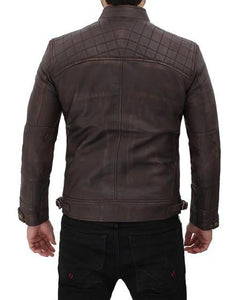 Distressed Quilted Brown Four Pocket Leather Biker Jacket Men - Wiseleather