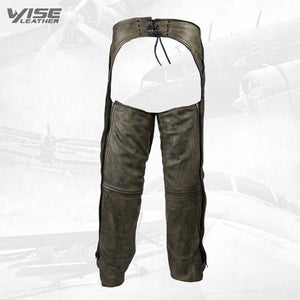 Distressed Brown Premium leather Motorcycle Chaps - Wiseleather