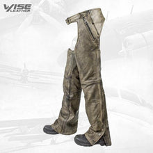 Distressed Brown Premium leather Motorcycle Chaps