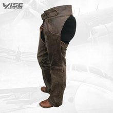 Distressed Rustic Brown Buffalo Leather Biker Chaps
