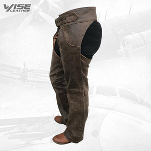 Distressed Rustic Brown Buffalo Leather Biker Chaps - Wiseleather