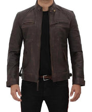 Distressed Quilted Brown Four Pocket Leather Biker Jacket Men