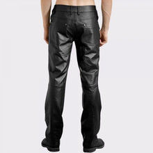 EDGY DENIM STYLE MENS LEATHER PANTS