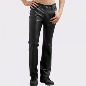 EDGY DENIM STYLE MENS LEATHER PANTS - Wiseleather