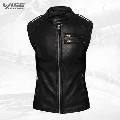 Fitted Biker Men Black Leather Vest