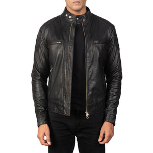GATSBY BLACK LEATHER BIKER JACKET