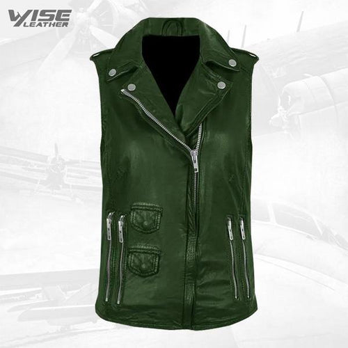 Green Genuine Leather Biker Vest