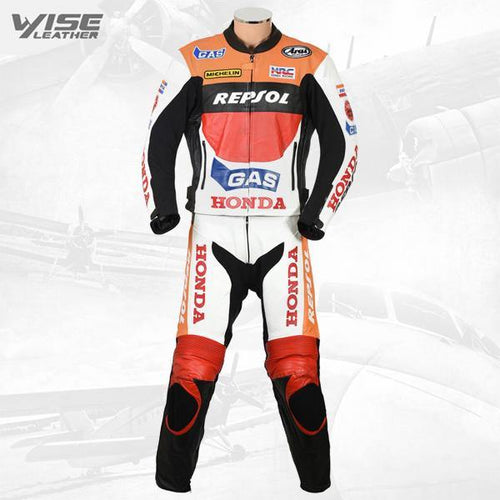 HONDA REPSOL GAS MOTOGP BIKER LEATHER SUIT