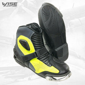 Half Long LEATHER RACING Motorbike Shoes Motorcycle Boots