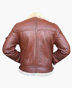 HANDMADE MENS FLYING LEATHER JACKET WITH FUR - Wiseleather