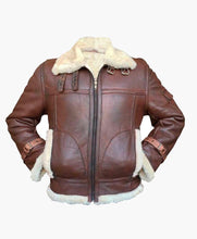 HANDMADE MENS FLYING LEATHER JACKET WITH FUR
