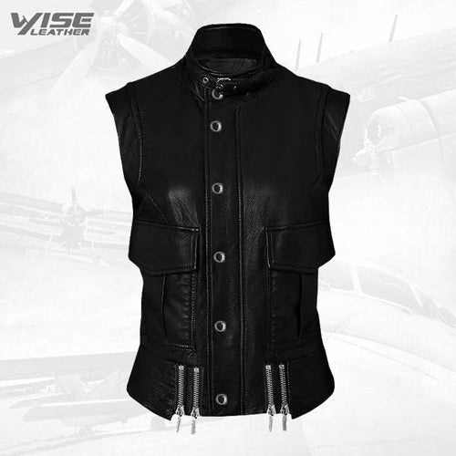 Handmade Cool Black Leather Biker Vest