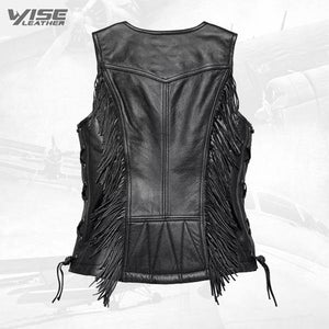 Harley Davidson Black Boone Fringed Leather Vest - Wiseleather