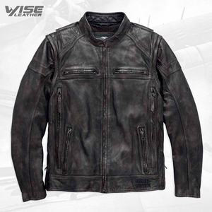 Harley Davidson Men's Dauntless Convertible Motorcycle Leather Jacket - Wiseleather