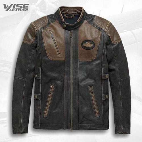 Harley Davidson Men's Vent Brown Biker Motorcycle Genuine Real Leather Jacket