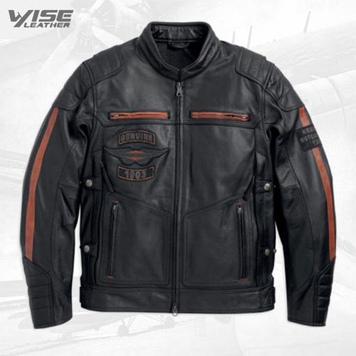 Harley Davidson Mens Exmoor Reflective Wing Motorcycle Leather Jacket