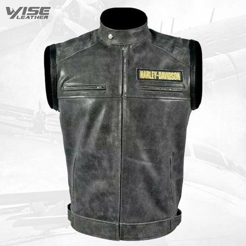 Harley Davidson Mens Motorcycle Sleeveless Real Cowhide Real Handmade Leather Customize Jacket