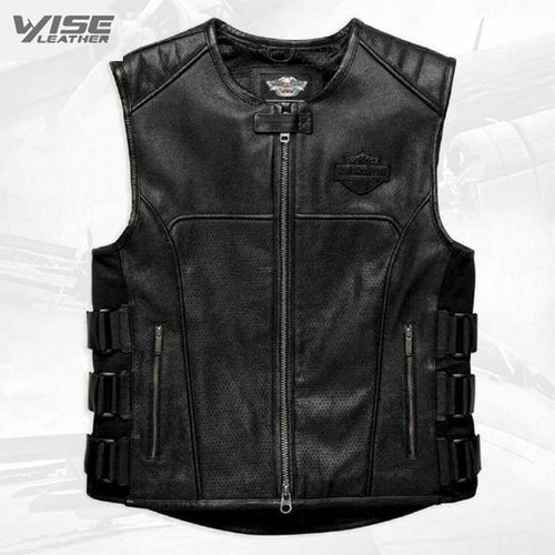 Harley Davidson Swat II Genuine Leather Vest Zippered Motorbike Café Racer Black