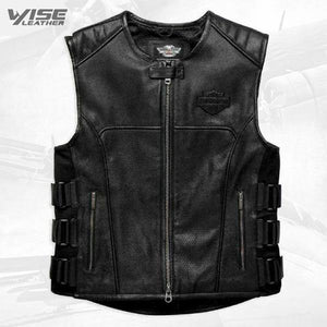 Harley Davidson Swat II Genuine Leather Vest Zippered Motorbike Café Racer Black - Wiseleather