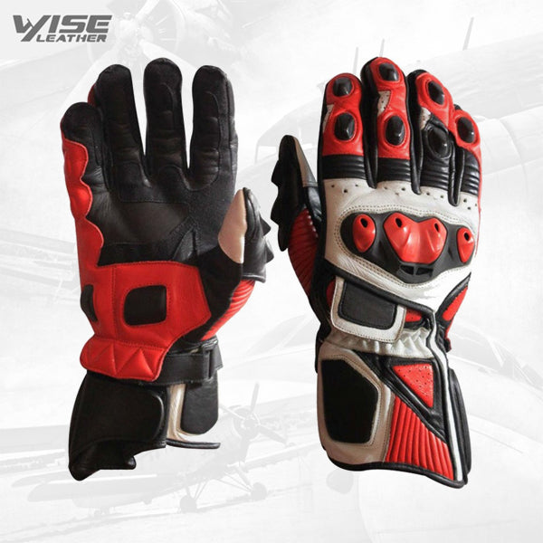 High quality cheap price custom color and logo high protected full fingered leather motorbike racing gloves for unisex