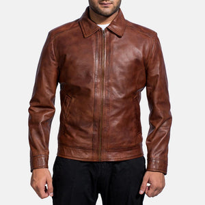 Mens Inferno Brown Leather Jacket - Wiseleather