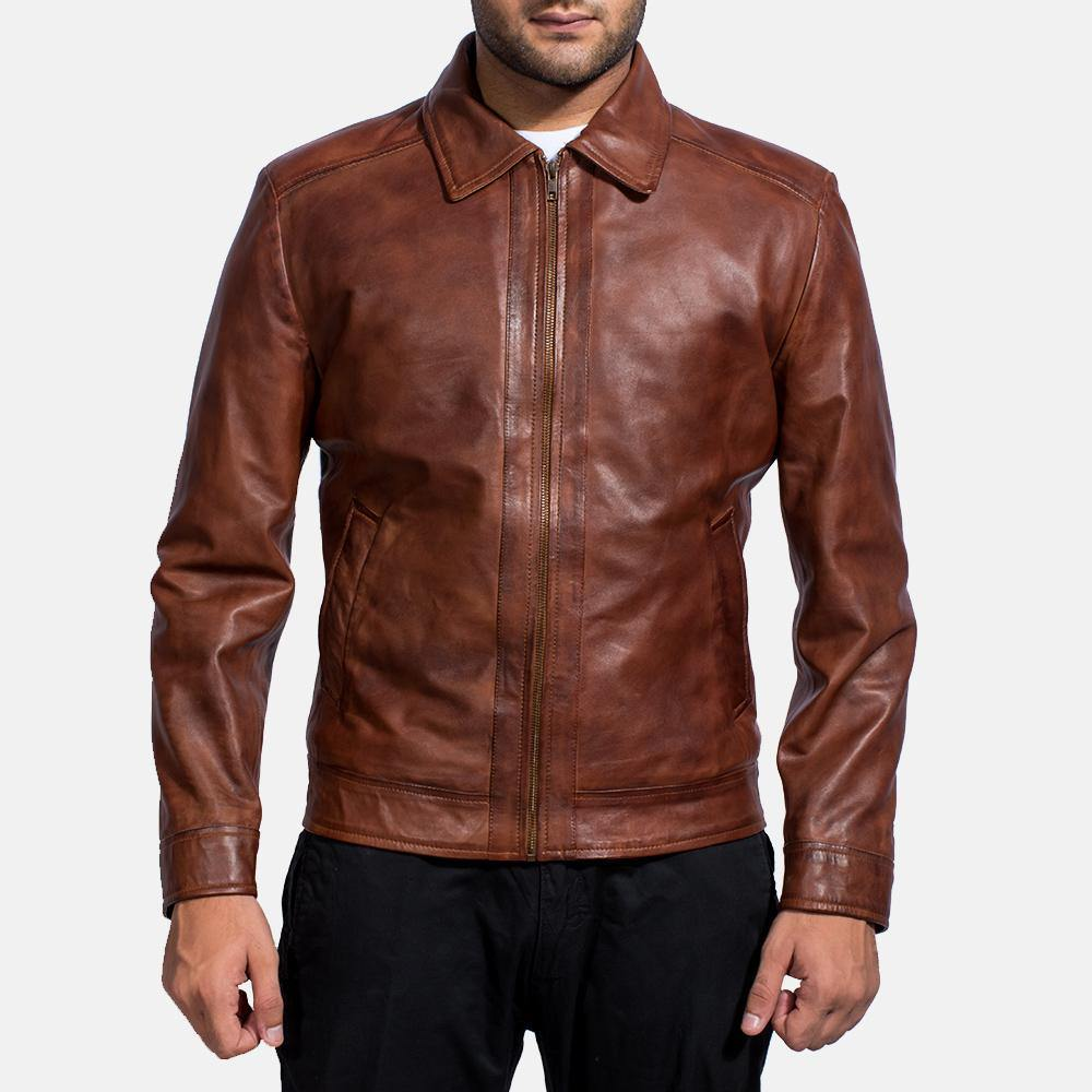 Mens Inferno Brown Leather Jacket