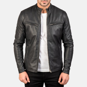 Ionic Black Leather Jacket - Wiseleather