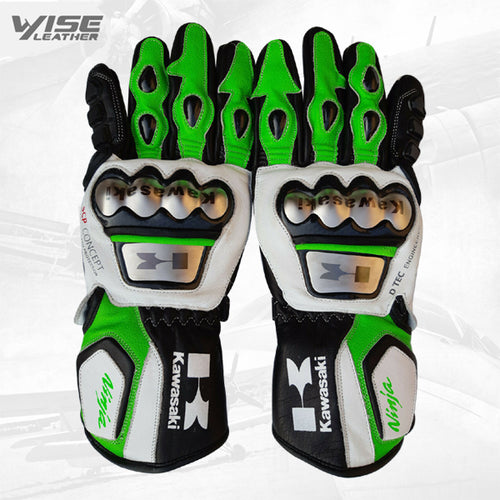 Kawasaki Motorbike Leather Motogp Riding Gloves