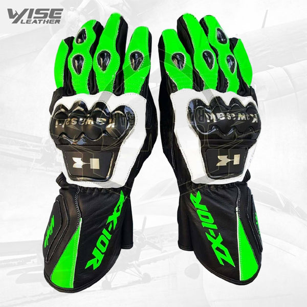 Kawasaki ZX10R Motorbike Leather Motogp Riding Gloves