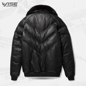 Leather V-Bomber Jacket Black with Black Fox Fur - Wiseleather