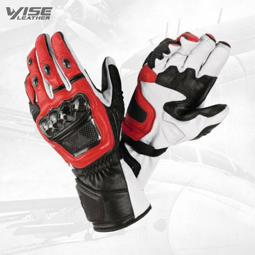 Leather Motorbike Racing Gloves Pair Bikers Gloves Motorcycle Gloves Black Red