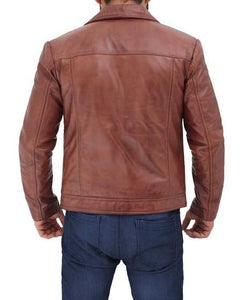 Distressed Lambskin Brown Leather Jacket - Wiseleather