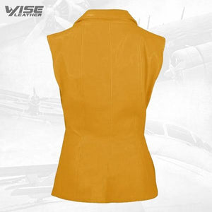 Luxurious 3 Button Womens Yellow Leather Vest - Wiseleather