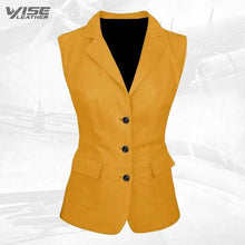 Luxurious 3 Button Womens Yellow Leather Vest