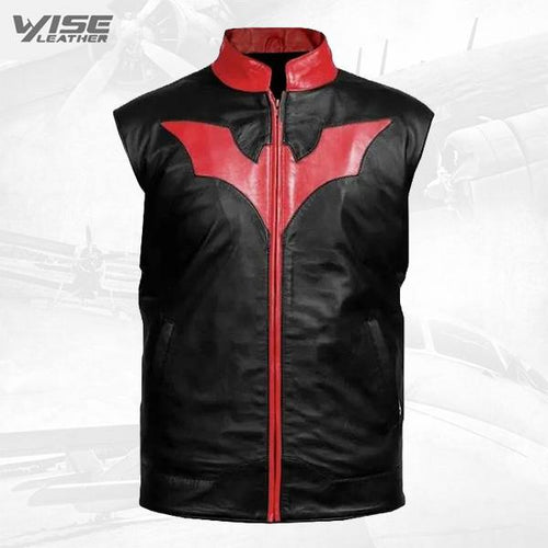 Luxurious Batman Inspired Men Black Leather Vest
