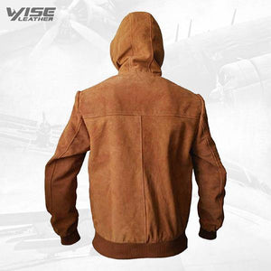 Marek Tan Suede Leather Hoodie - Wiseleather