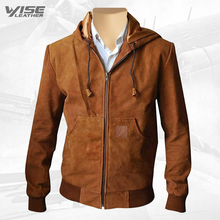 Marek Tan Suede Leather Hoodie