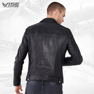 Men Black Leather Biker Jacket - Wiseleather