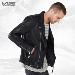 Men Black Leather Biker Jacket