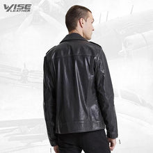 Men Charcoal Black Biker Jacket
