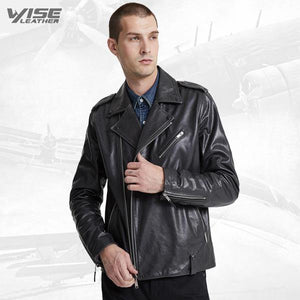 Men Charcoal Black Biker Jacket - Wiseleather