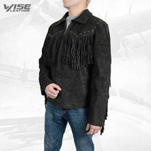 Men Exclusive Fringes Jacket Black Bird Real Leather Suede Western Style