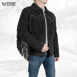 Men Exclusive Fringes Jacket Black Bird Real Leather Suede Western Style - Wiseleather