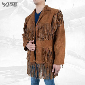 Men Exclusive Fringes Jacket Bromo Real Leather Suede Western Style - Wiseleather