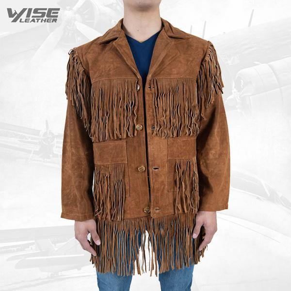 Men Exclusive Fringes Jacket Bromo Real Leather Suede Western Style