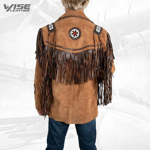 Men Exclusive Fringes Jacket Chingari Real Leather Suede Western Style - Wiseleather